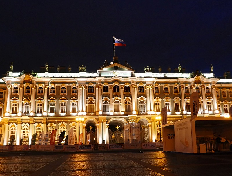 サンクトペテルブルク、エルミタージュ美術館夜景